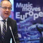 Tibor Navracsics, European commissioner for culture, speaks at the Music Moves Europe launch