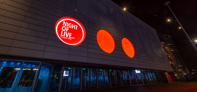 The AFAS Live arena in Amsterdam illuminated for the recent Night of Live