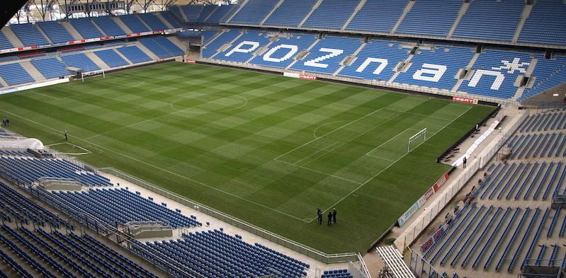 Poznań Stadium in Poland hosted 17,000 spectators for Sunday's football match