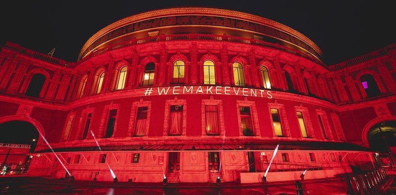 Royal Albert Hall illuminated during the first #WeMakeEvents protest in August